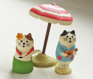 猫フィギュア用しましまパラソル