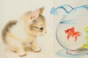 猫と金魚鉢ののれん