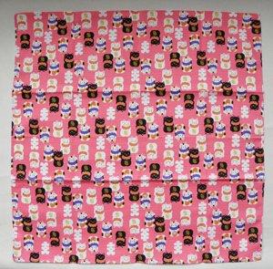 小風呂敷【招き猫】ピンク