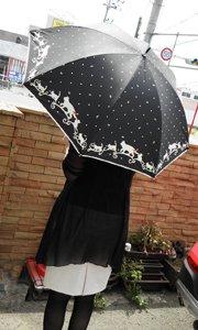 晴雨兼用/手押し開き傘【猫のお散歩×水...
