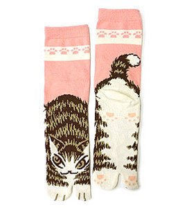 猫のダヤンの足袋ソックス【猫のしっぽ】ピンク