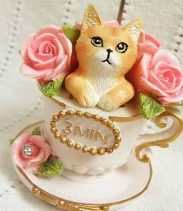 お洒落な3分砂時計【ティーカップの猫】