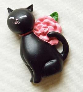 立体マグネット【黒猫と薔薇】