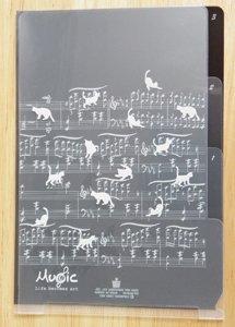 B6仕切り付きクリアファイル【ミュージックキャット】黒に白猫