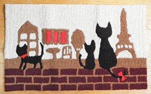 玄関マット【黒猫3にゃん】町並み