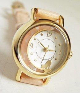 腕時計【マーブルお月さんと猫】薄ピンク