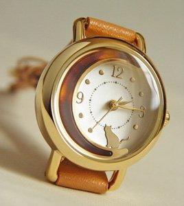 腕時計【マーブルお月さんと猫】キャメル