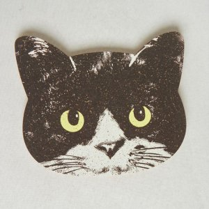 猫型コルクコースター【ハチワレ】