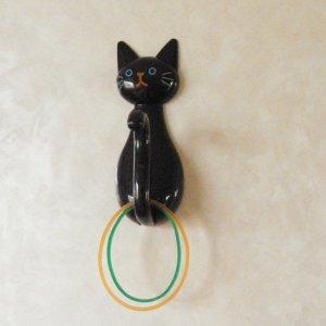 ねこのマグネットしっぽフック【黒猫】