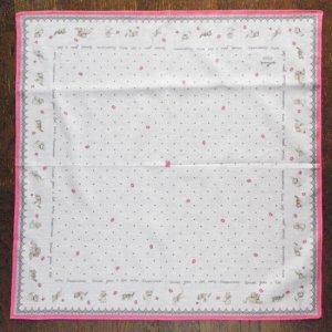 ホールマーク猫ハンカチーフ【しましま猫くるり】ピンク×縁取り濃いピンク