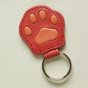 猫のダヤン肉球リングキーホルダー#2【赤】