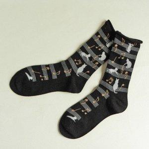 手篝靴下【猫シルエットと五線譜】