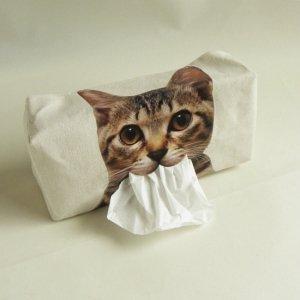 猫口からにゅーっと取り出すティッシュケース【きじとら猫】
