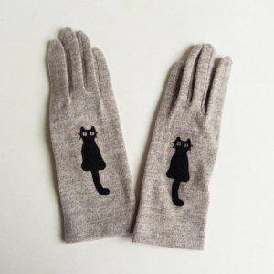 なかよし猫の手袋【薄グレー色】黒猫
