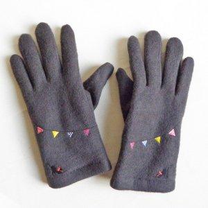 刺繍入りジャージ手袋【のび〜猫×フラッグ】チャコールグレー