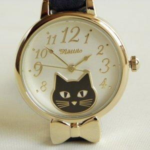 腕時計【蝶ネクタイの黒猫】ネイビー