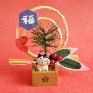 まったり猫の正月飾り【枡飾り】