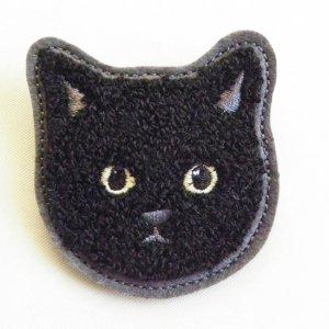 ぽこぽこサガラ刺繍ブローチ【黒猫】
