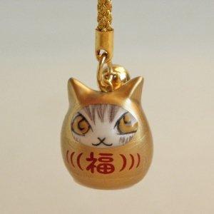 猫のダヤン 猫のだるま根付#2【マットな金色】