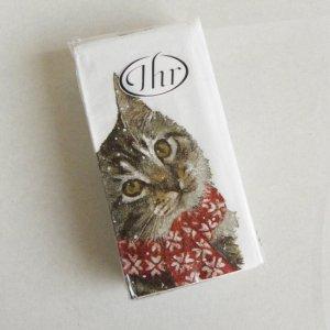 IHR ペーパーナプキン【首をかしげるマフラー猫】ティッシュサイズ