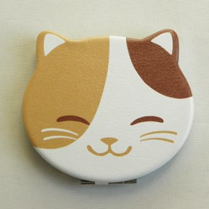 ねこ型コンパクトミラー【黒猫くぅと三毛猫みぃ】