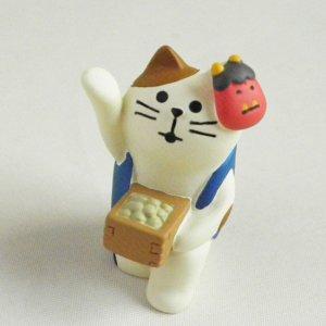 まったり猫の置物【豆まき三毛猫】