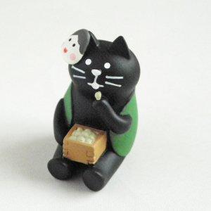 まったり猫の置物【豆好き黒猫】