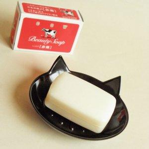 猫耳ピョコンのメラミン石鹸トレイ【黒猫】