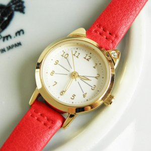 timeless design dc559 2036c 文字盤が猫型の腕時計【赤】 - 猫雑貨・猫グッズ専門通販 猫的生活百貨店 けいと屋ニコル