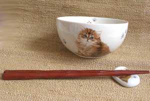 にゃんコレ茶碗&箸置きセット【チンチラ】