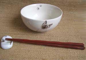 にゃんコレ茶碗&箸置きセット【シャム猫】