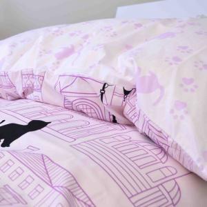 掛け布団カバー【猫の住む街/ピンク】