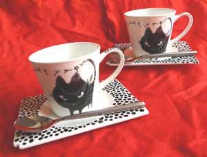 Shinzi Katoh カップアンドソーサー【Black Cat】