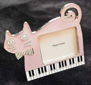 ピアノキャットフォトフレーム【キラキラ×ピンク】