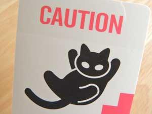 猫ステッカー【CAUTION WATCH YOUR STEP】