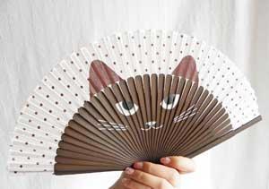 扇子【開け〜猫っ!/ブラウン】