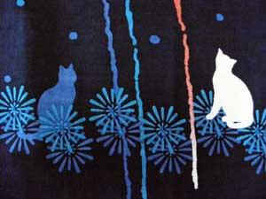 手拭い【大輪花火と猫二匹】