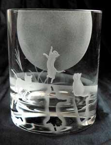 ハンドメイドロックグラス【月夜の猫祭り】