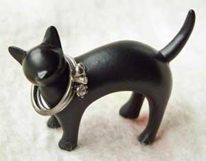 リングホルダー【おさんぽ猫】黒