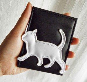 コンパクトミラー【Sサイズ】黒地に白猫