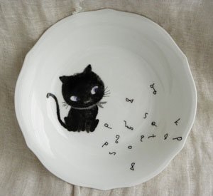 Shinzi Katohカレー皿【青い目の黒猫】