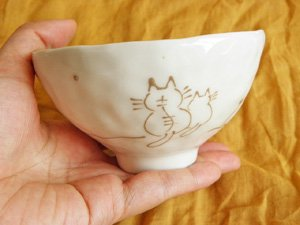 よりそう親子猫のお茶碗【白】