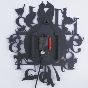 振り子の掛け時計Lサイズ【黒猫】