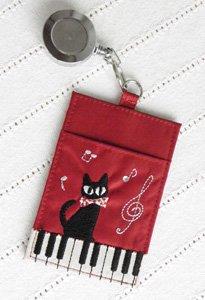 リール付パスケース 【ピアノと黒猫ジーン】