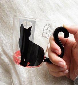 しっぽにゃ猫の耐熱マグ【おすわり猫】お家ver.