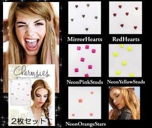【2枚セット】チャームシース(Charmsies)ヘアアクセサリー/髪につけるキラキラジュエリー/ヘアチャーム/2シート入り/ハート&ネオンスタッズ/hair charms<img class='new_mark_img2' src='https://img.shop-pro.jp/img/new/icons16.gif' style='border:none;display:inline;margin:0px;padding:0px;width:auto;' />