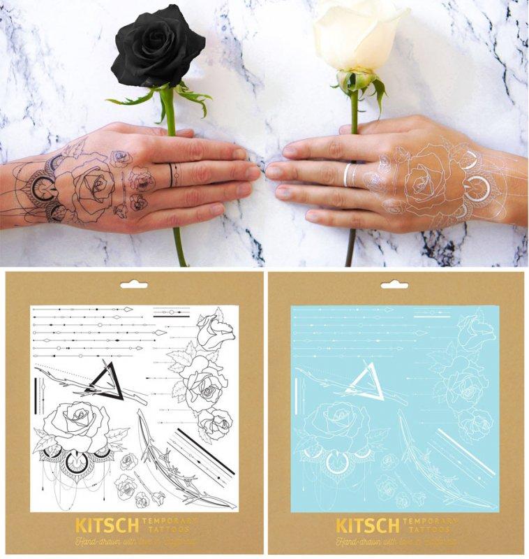 タイムセール/Kitsch(キッチュ)デザートローズ ヘナタトゥーシール/ホワイト&ブラック/Desert Rose True Henna Tattoo Set/テンポラリータト…