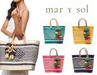 Mar Y sol(マリソル)Ibiza かごバッグ/ラフィアタッセル付き レザーハンドルバスケット(ブルー、イエロー、ピンク、ネイビー、ナチュラ…