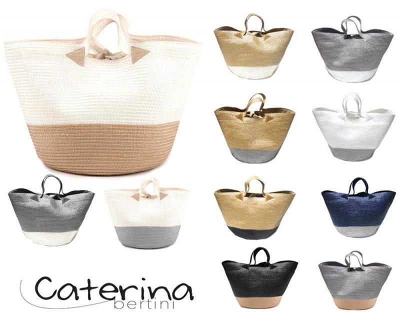 ベルティーニ (Caterina Bertini)バイカラーかごバッグ/バケツ型バッグ/ナチュラル×ベージュ