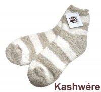 カシウエア(Kashwere)ボーダー柄レディースソックス/靴下(モルト×クリーム)